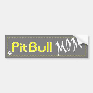 Gray and Yellow Pit Bull Mom Bumper Sticker