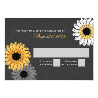 Gray and Yellow Slate and Flowers Response Card