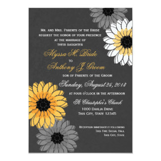 Gray and Yellow Slate and Flowers Wedding Card