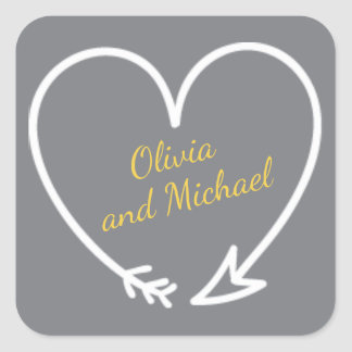 Gray and Yellow sticker with heart shaped arrow