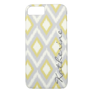 Gray and Yellow Tribal Ikat Chevron Monogram iPhone 7 Case