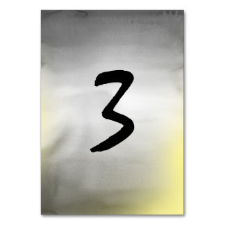 Gray and yellow Watercolor Table Number Cards Table Cards
