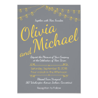 Gray and Yellow Wedding Invitation with Lights
