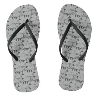 Gray Animal cat Flip Flops