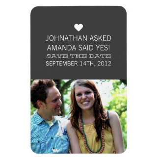 Gray Announcement Photo Save The Date Magnet