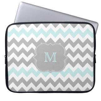 Gray Aqua Chevron Monogram Laptop Sleeve