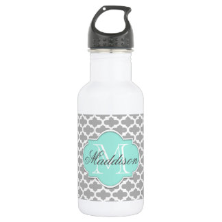 Gray Aqua Elegant Pattern Monogram 532 Ml Water Bottle