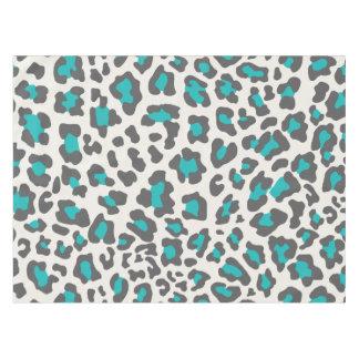 Gray, Aqua, White Leopard Print Tablecloth