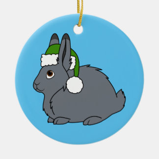 Gray Arctic Hare with Christmas Green Santa Hat Round Ceramic Ornament