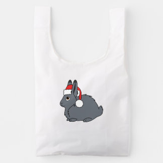 Gray Arctic Hare with Red Santa Hat