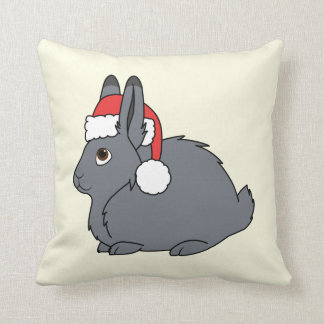 Gray Arctic Hare with Red Santa Hat Throw Pillow