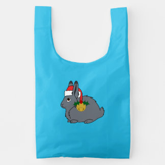 Gray Arctic Hare with Santa Hat & Gold Bell