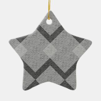 gray argyle ceramic ornament