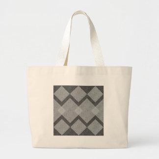 gray argyle large tote bag