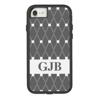 Gray Argyle Lattice with monogram Case-Mate Tough Extreme iPhone 8/7 Case