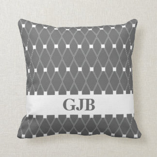 Gray Argyle Lattice with monogram Throw Pillow