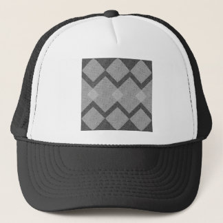 gray argyle trucker hat