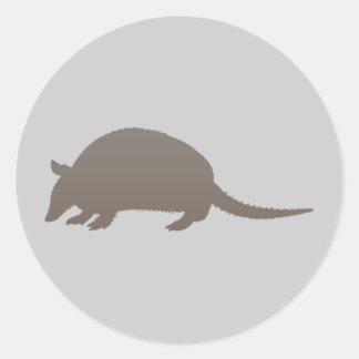 Gray Armadillo Round Sticker
