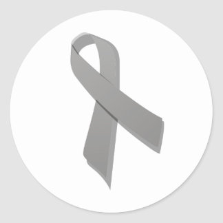 gray awareness ribbon classic round sticker