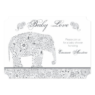 Gray Baby Elephant Shower Invitation