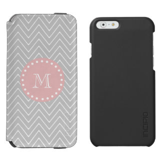 Gray Baby Pink Modern Chevron Custom Monogram Incipio Watson™ iPhone 6 Wallet Case