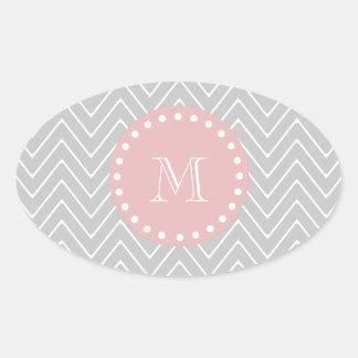 Gray & Baby Pink Modern Chevron Custom Monogram Oval Sticker