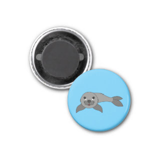 Gray Baby Seal 1 Inch Round Magnet