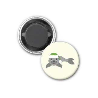 Gray Baby Seal with Christmas Green Santa Hat 1 Inch Round Magnet