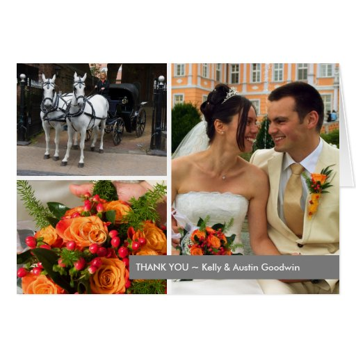 Gray band modern 3 photo montage thank you note greeting card