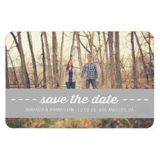 Gray Banner Photo Save The Date Magnet