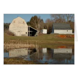 Gray Barn - Reflections of Serenity in Pond Card