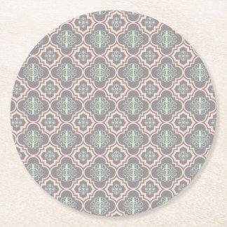 Gray Baroque Royal Damask Round Paper Coaster