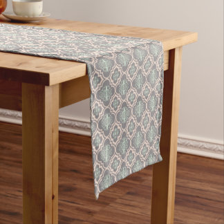 Gray Baroque Royal Damask Short Table Runner