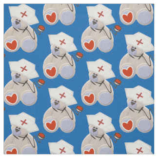Gray Bear Nurse With Stethoscope Heart and Hat Fabric