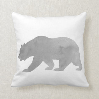 Gray Bear Watercolor Alaska Pillow Woodland Pillow