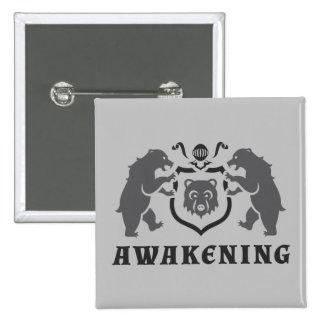 Gray Bears Awakening Blazon 2 Inch Square Button