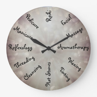 Gray Beauty Therapy design Large Clock