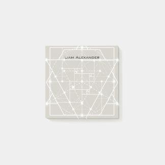 Gray-Beige Greige Geometric Personalized Monogram Post-it Notes