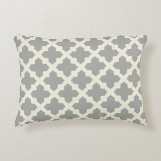 Gray & Beige Modern Moroccan Quatrefoil Monogram Accent Pillow