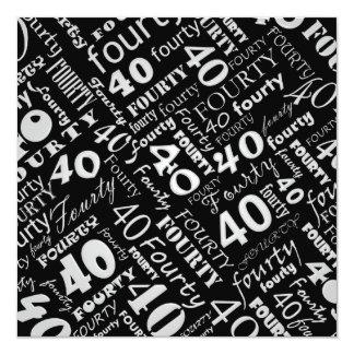 Gray & Black 40th Birthday Party Invitation