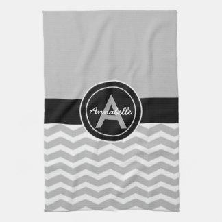 Gray Black Chevron Kitchen Towel