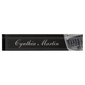 Gray black custom court reporter name plate
