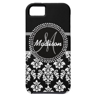 Gray Black Damask with Monogram Case For The iPhone 5