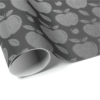 Gray Black Foxier Silver Metallic Apple Fruits Wrapping Paper