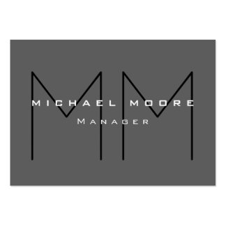 Gray Black Huge Monogram Modern Business Card