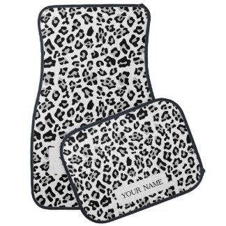 Gray Black Leopard Animal Print Pattern Car Mat