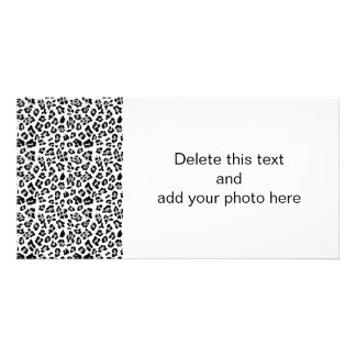 Gray Black Leopard Animal Print Pattern Personalized Photo Card