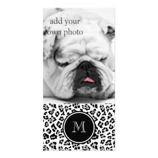 Gray Black Leopard Animal Print with Monogram Photo Card Template