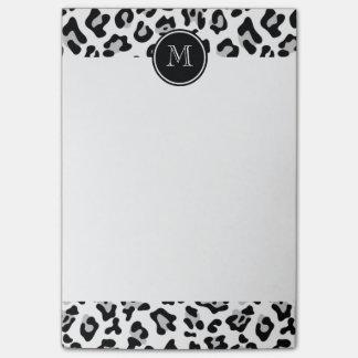 Gray Black Leopard Animal Print with Monogram Post-it® Notes