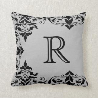 Gray & Black Monogram Damask Pillow